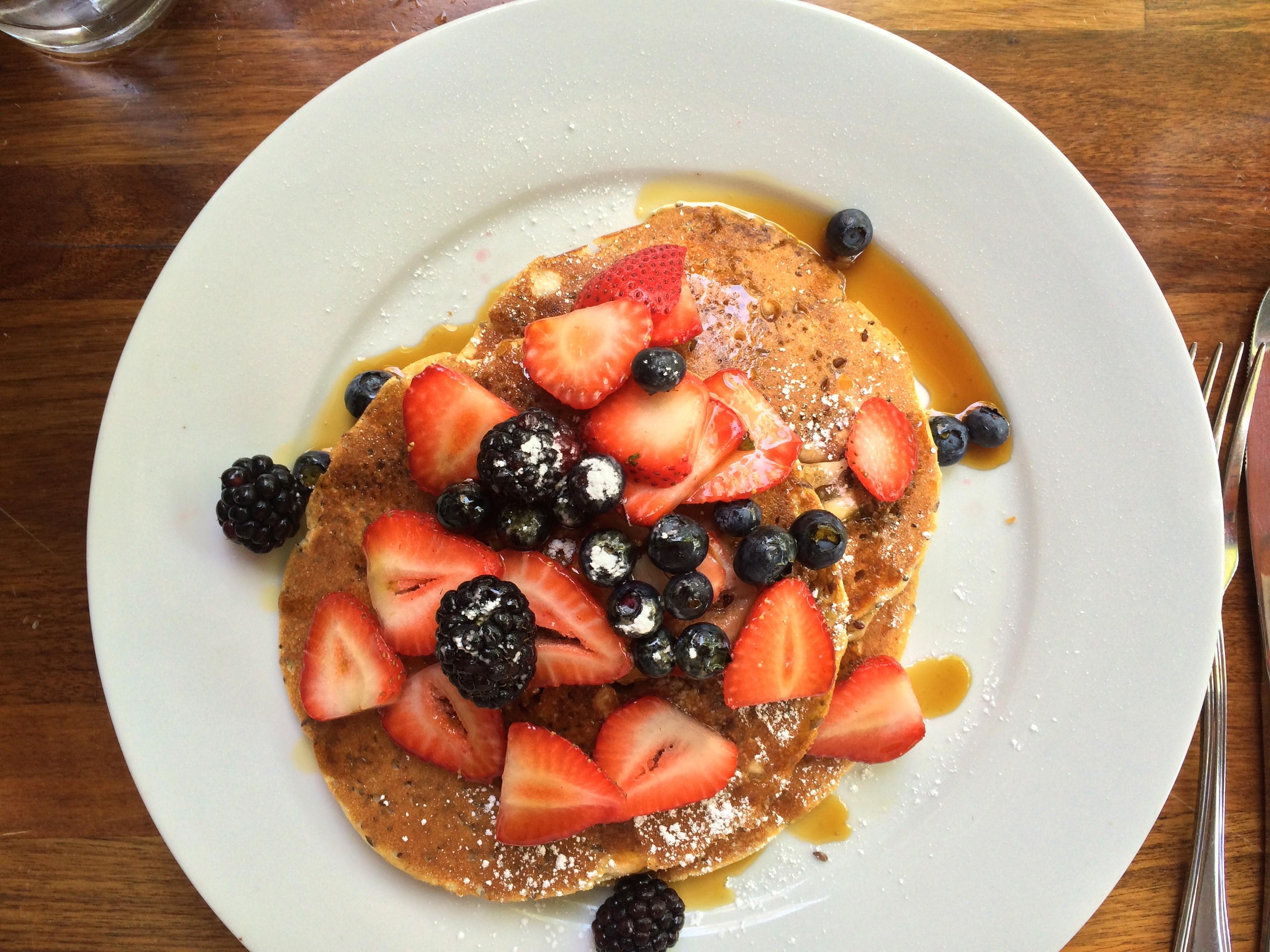 Cafe Vida's organic brown rice pancakes.; Credit: B. Douglas